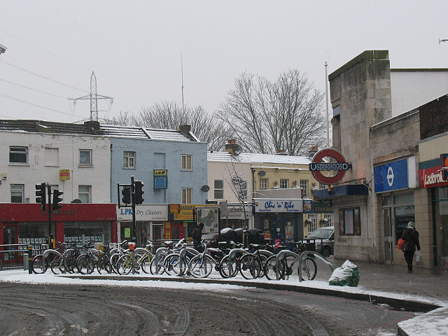 Cycle parking outside Colliers Wood tube station