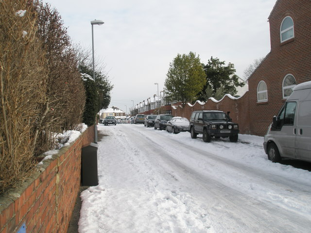 A snowy Chilgrove Road