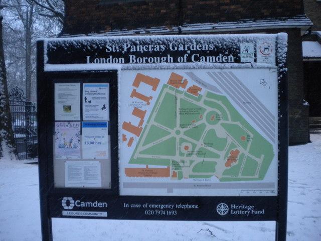Notice board, St Pancras Gardens, Pancras Road NW1