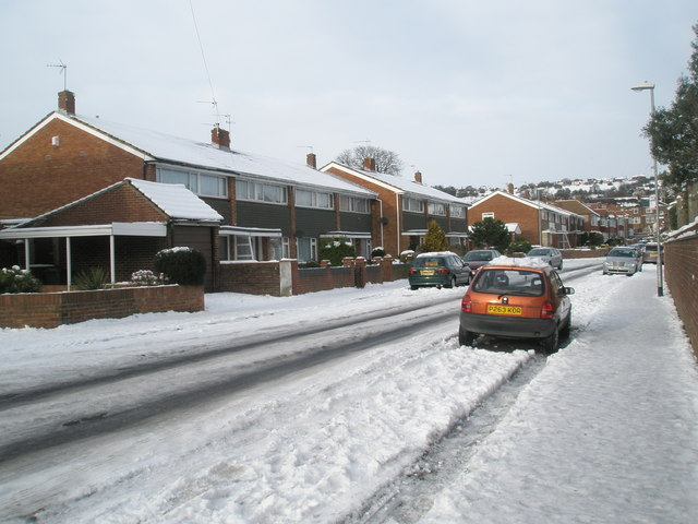 Snow covered homes in Lower Drayton Lane
