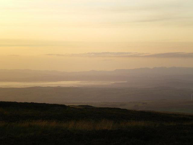 North Morecambe Bay and mountains at sunset