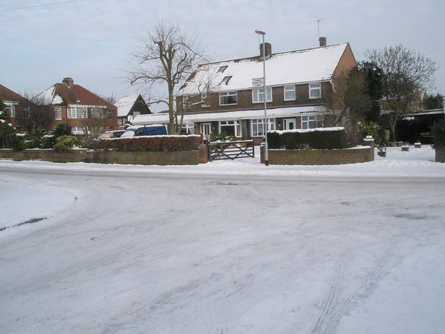 A snowy scene at the junction of Dysart Avenue and Lower Drayton Lane
