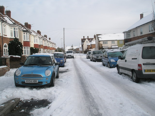 Mid section of a snowy Dysart Avenue