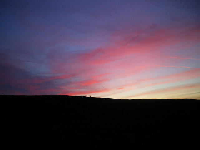 Ward's Stone black against a pink sky - Bowland