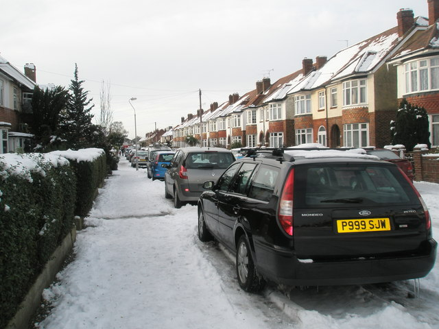 A snowy pavement in Dysart Avenue