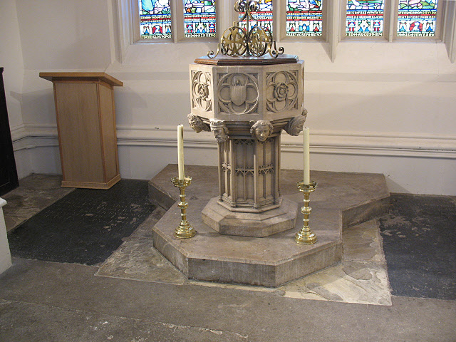 Mitcham parish church: font