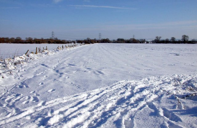 Snow covered farmland at East Hagbourne