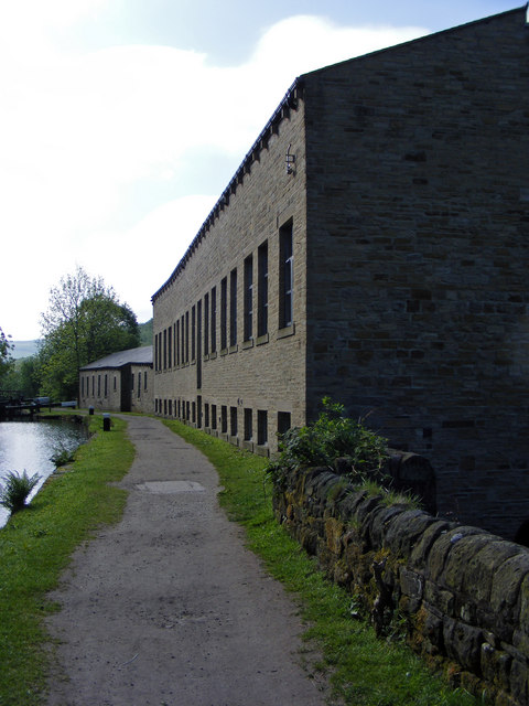 Rochdale Canal towpath by Mayroyd Mill