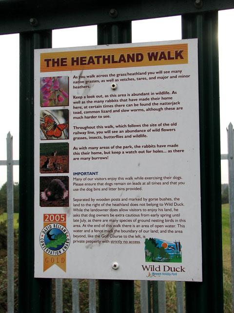 The Heathland Walk - information board