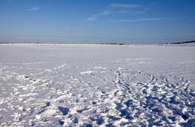 Snow blanketed farmland at Blewbury