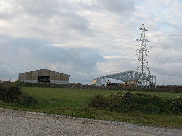 Barns and pylon