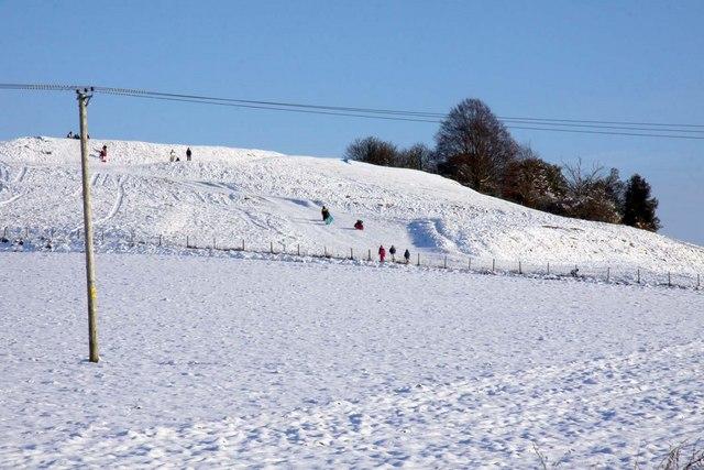 Sledging on Blewburton Hill