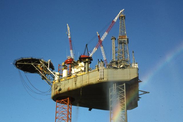 Drilling rig in Heysham Harbour
