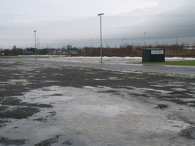 Car park and ticket booth, Falkirk Stadium