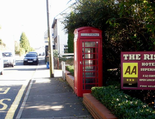 Red phonebox, Rogerstone