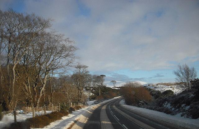A850 towards Borve, in winter