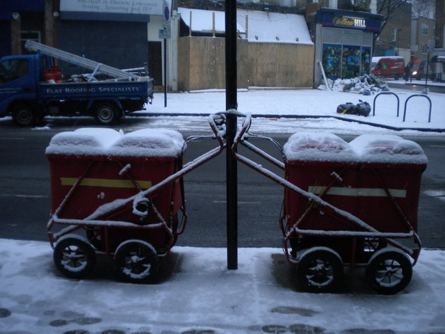 Mail trolleys, Rousden Street NW1