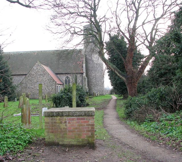 All Saints church, Belton - footpath through churchyard