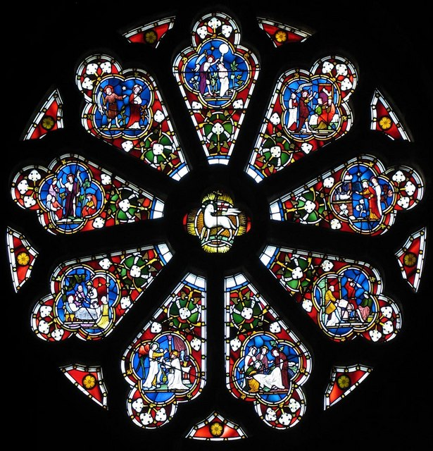 St Dunstan, Cheam - West rose window