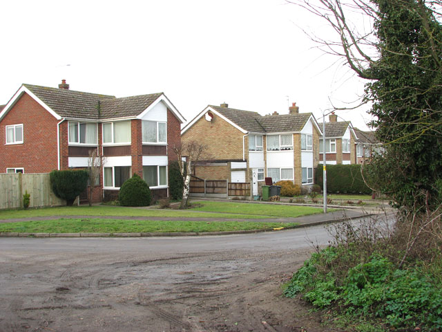 Houses on sharp bend in Church Lane