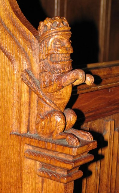 St Dunstan, Cheam - Bench elbow