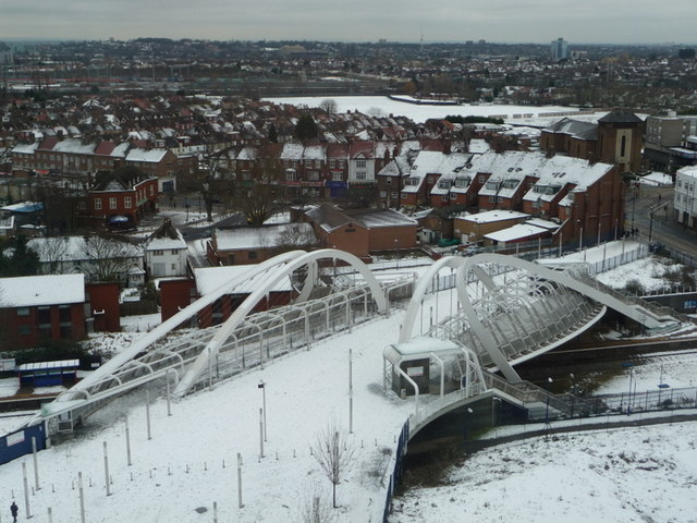 Wembley: Wembley Stadium Station footbridge in snow