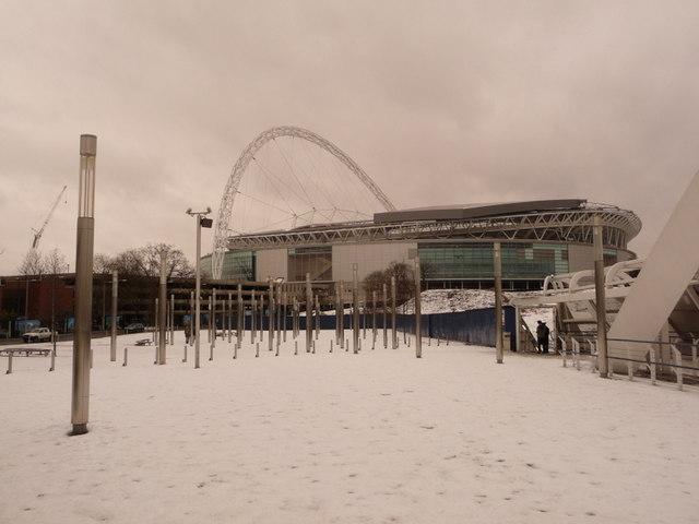 Wembley: the stadium from snow-covered footbridge