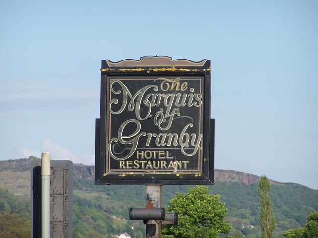 Marquis of Granby Hotel Sign, Bamford, near Hathersage - 1