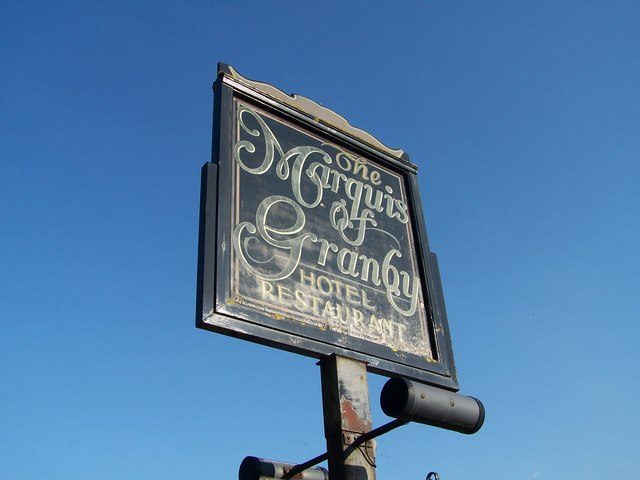 Marquis of Granby Hotel Sign, Bamford, near Hathersage - 2