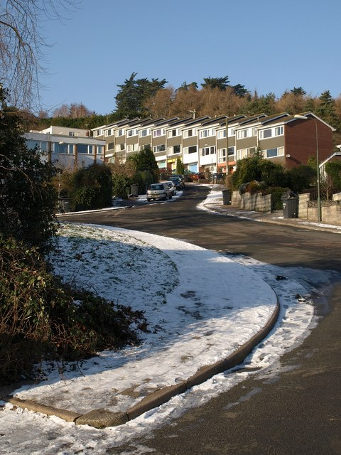 Crownhill Rise in the snow
