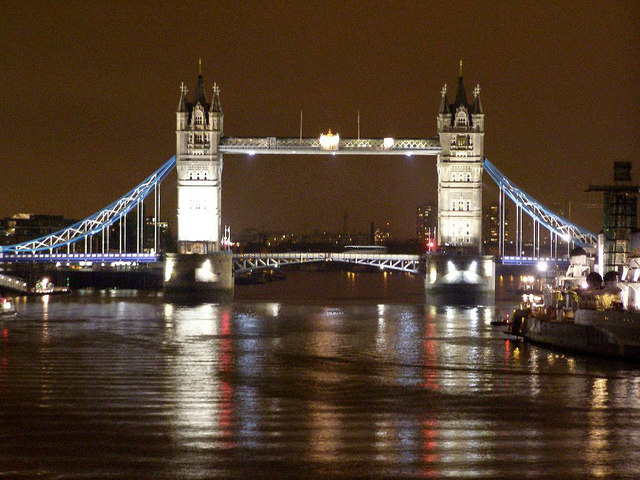 Tower Bridge floodlit