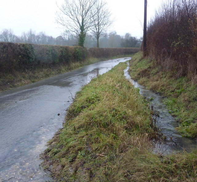 Wet lane near Dove's Farm