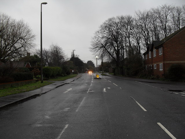 Looking down a murky B2140 towards East Preston