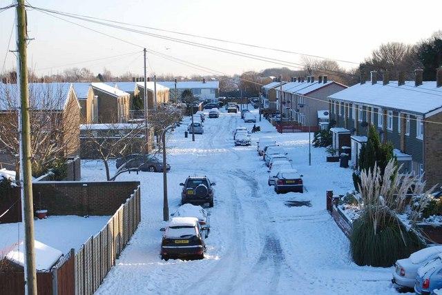 Bridgemary under snow - Montgomery Road (1)
