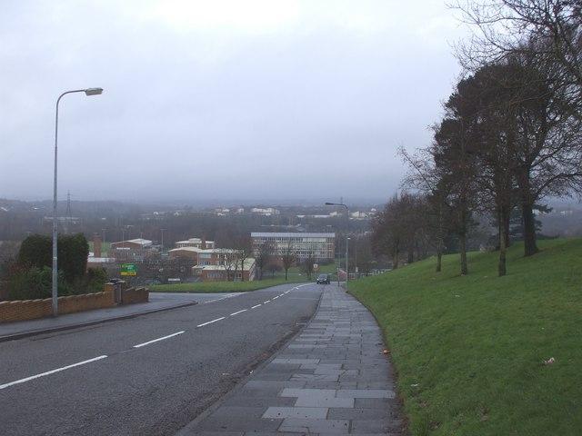 Llanrumney High School, from Ball Rd, Cardiff