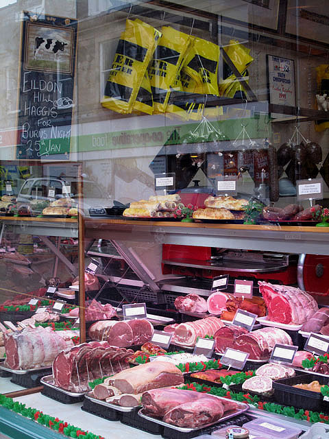 Millers of Melrose Butchers shop window