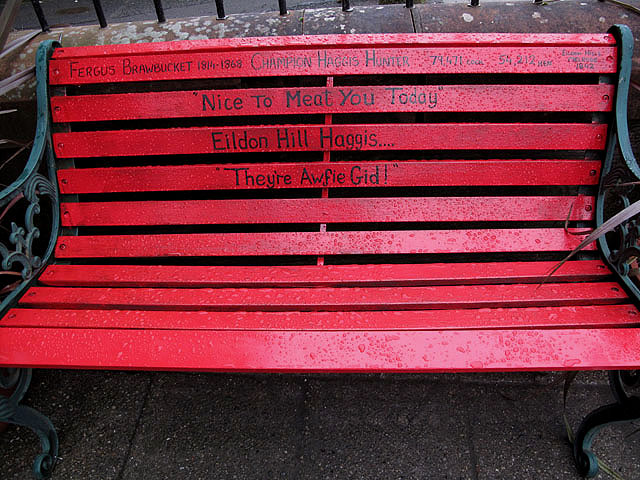 A seat outside Millers of Melrose Butchers