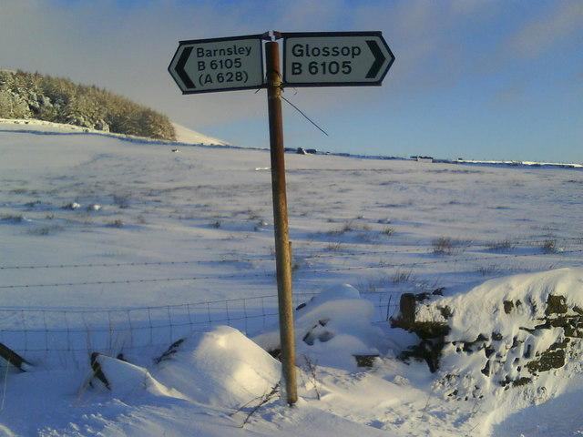 B6105 road sign, Woodhead Road