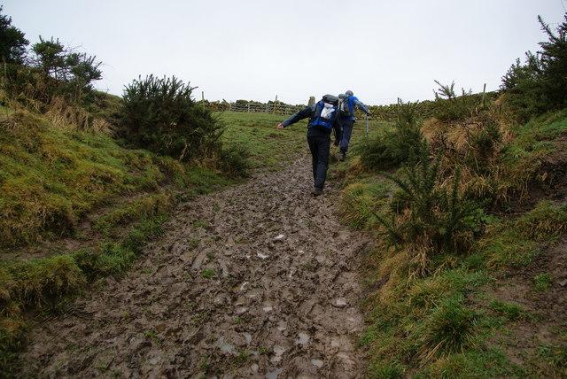 A muddy climb