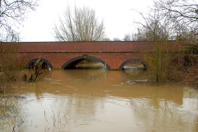 River Itchen in flood at Snowford Bridge