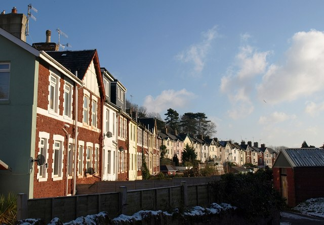 Rear of terraces, Mallock Road, Chelston