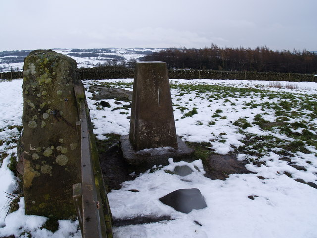 Trig point on Warden Hill in Winter