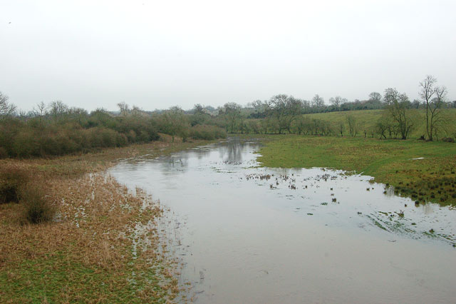 Flood on the River Itchen east of Bascote railway viaduct