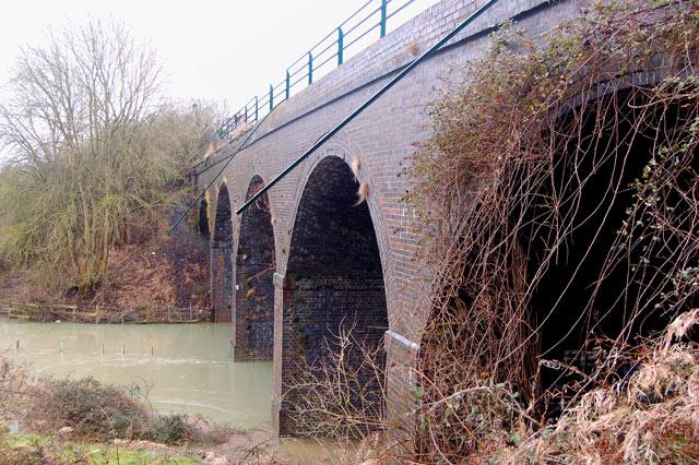 East side of disused railway viaduct near Bascote