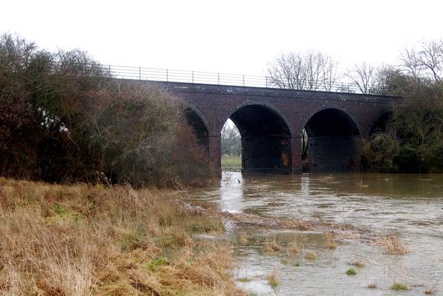 West side of disused railway viaduct near Bascote