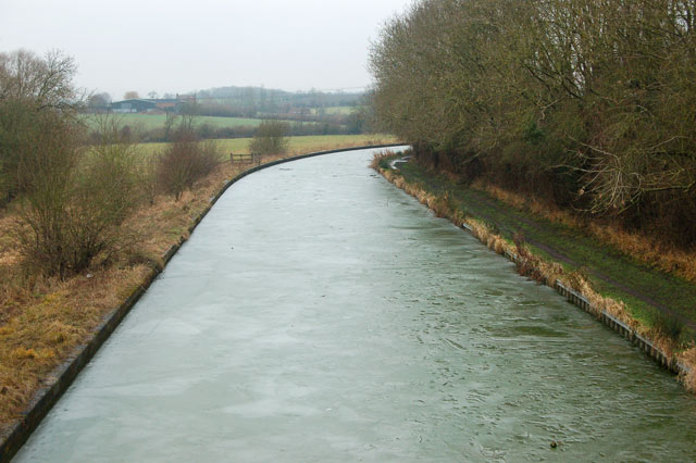 Ice-covered Grand Union Canal southwest of Long Itchington