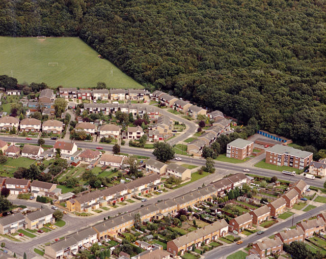 Aerial view of Rayleigh Road and West Wood, Thundersley