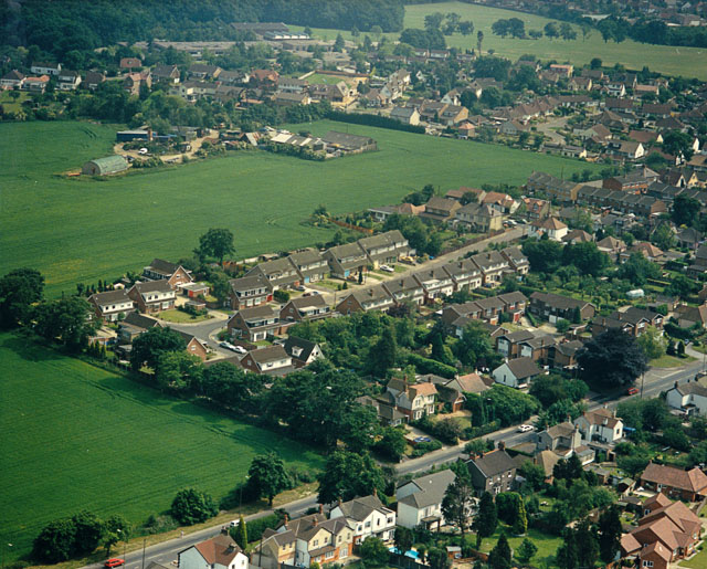 Aerial view of the Rayleigh Road with Daws Heath beyond