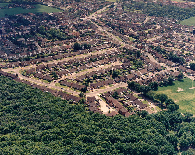 Aerial view of the 'Racecourse Estate' and Thundersley Common