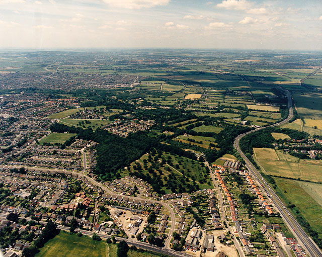 Aerial view of Thundersley Common and the Southend Arterial Road